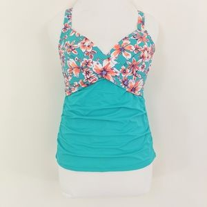 Lands End Underwire Wrap Tankini Top w/ Shirring
